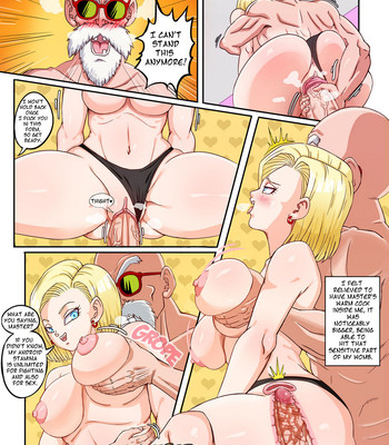 Android 18 x Master Roshi comic porn sex 021
