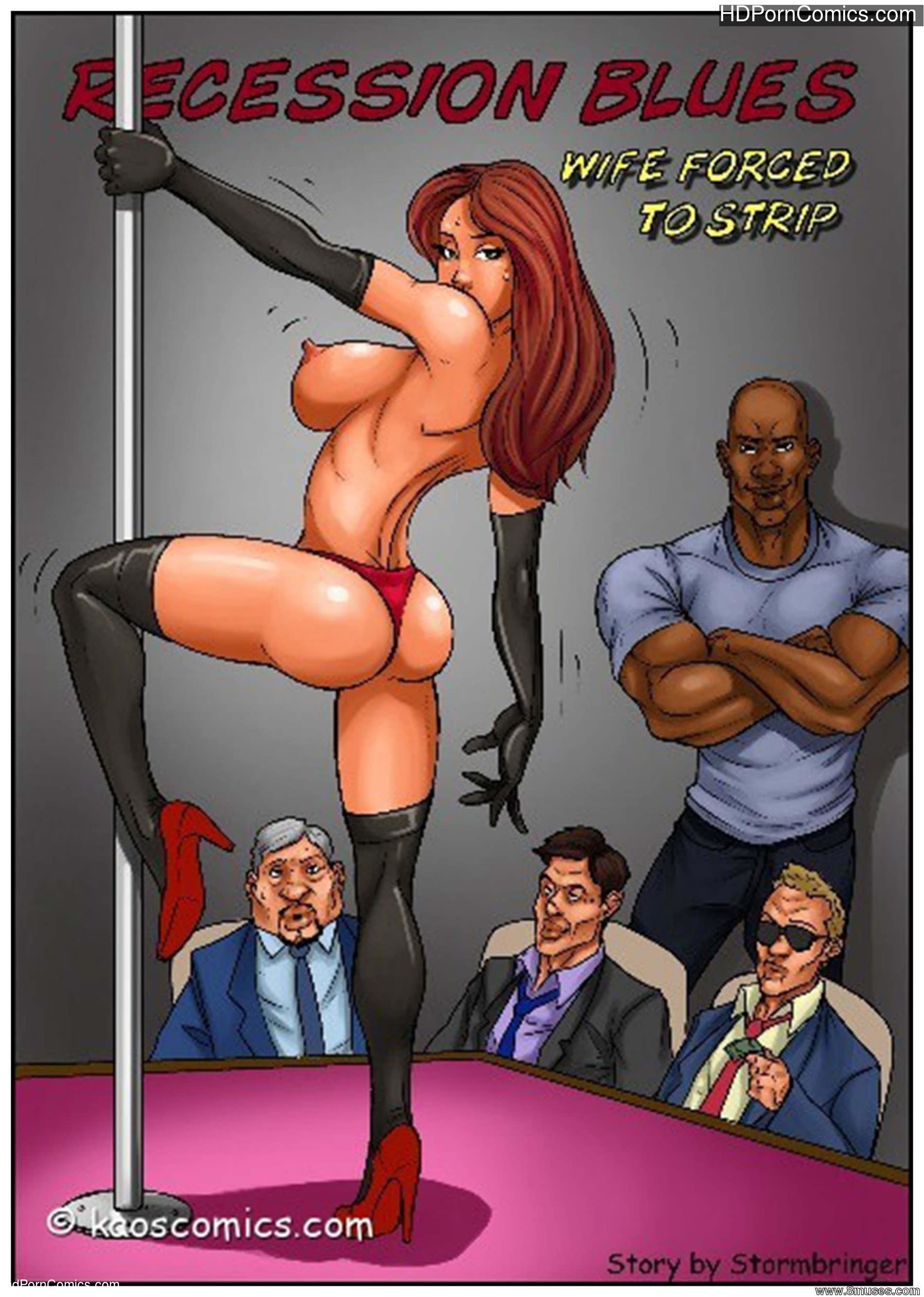 Forced Comic Porn interracial-kaoscomics- wife force to strip free porn comic
